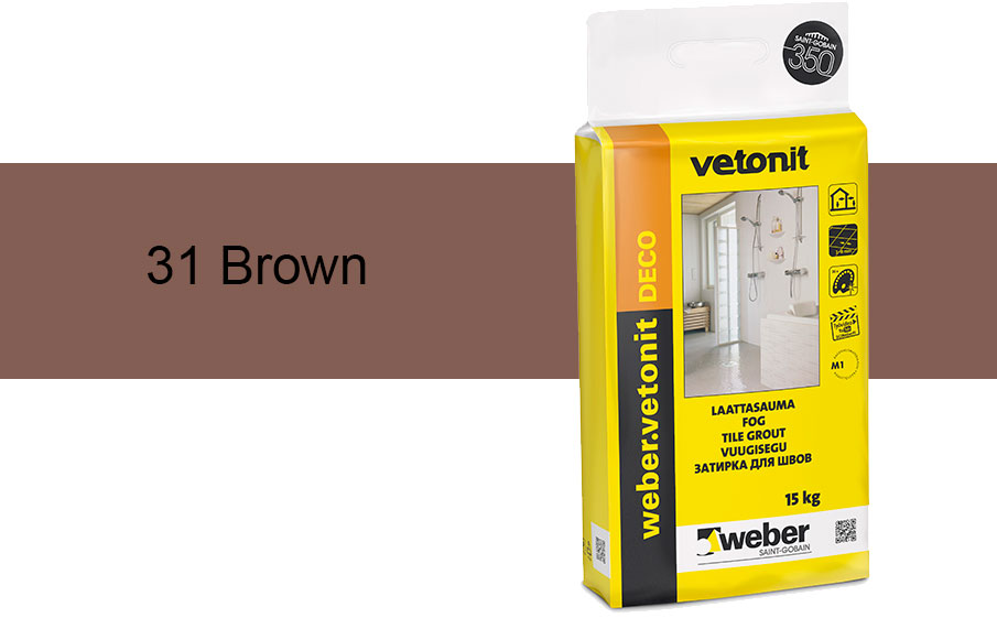 Затирка для швов weber.vetonit Deco 31 Brown, 15 кг